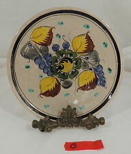 TONALA MEXICAN POTTERY by CAT Floral Plate Green Flower Black Rim B