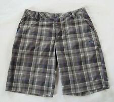 Puma Mens Stretch Polyester Gray Purple Plaid Khaki Shorts Tag 36 Measured 34