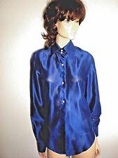 DOLCE & GABBANA SILK ROYAL BLUE ASYMMETRICAL W/LARGE COLLAR SHIRT-BLOUSE SIZE 46