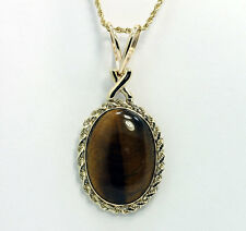 Vintage tigers eye pendant necklace 14K yellow gold oval cabochon 17.80CT 10.5G
