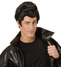 Mens Deluxe Danny Grease Wig John Travolta Teddy Boy Rockabilly Fancy Dress