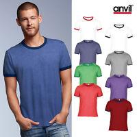 Anvil Adult Fashion Basic Ringer Tee 988 - Men Two Toned Cotton Plain T-Shirt