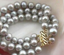 """3 ROWS 9-10MM NATURAL SOUTH SEA GRAY PEARL BRACELET 7.5-8"""" 14K YELLOW GOLD CLASP"""