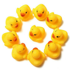 Lot 10pcs Cute Mini Yellow Rubber Race Squeaky Bathing Duck Ducky Baby Toys