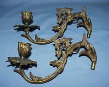 Pair Antique Brass Piano, Organ, Wall Candle Sconces