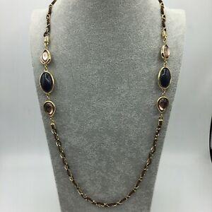 Chico's Gold Tone Chain Woven Brown Suede Navy Cabochon Long Layering Necklace