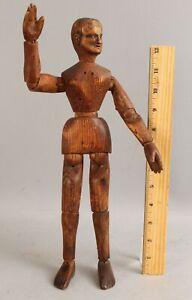 Antique 19thC Folk Art Wood, Artists Model Manikin, Carved Head & Hands, NR