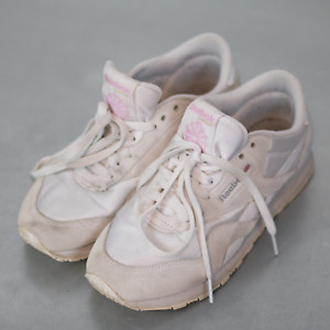 Vintage Reebok Classic Nylon Women's Shoes Pink White Gray Size 8 Retro VTG