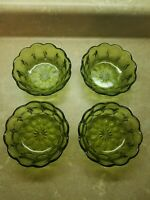 "4 VTG Avocado Green Glass Scalloped Edge 5"" Salad Small Bowls Decorative"