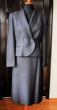 1960s Vintage Norgail LTD New York Black Coat and Skirt 2 Piece Suit Made In USA