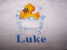 """""""PERSONALIZED EMBROIDERED TODDLER BOY DUCK WHITE  HOODED BATH TOWEL""""100% COTTON"""