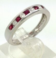 9ct white gold ruby & diamond eternity ring UK Size N new channel set actual one