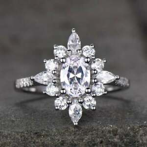 Wedding Cluster Engagement Ring 3 Ct Multi Shape Diamond 14K White Gold Finish
