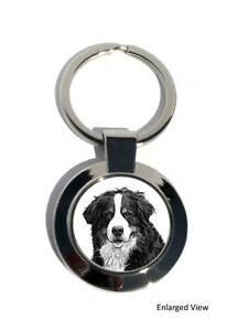 Bernese Mountain Dog Round Chrome Plated Keyring Boxed Gift Key Fob