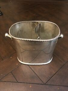 Pottery Barn Divided Wine Champagne Cooler Silver Metal French Flair Handles