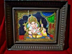 Ganesh Tanjore Painting Hindu God Ganesha Thanjavur Temple Statue Home Decor Art