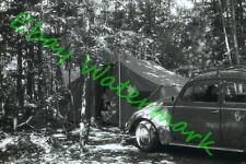 1960's Volkswagen Beetle Camping Original B/W Kodak 35mm Slide