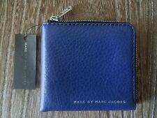 MARC JACOBS COBALT BLUE LEATHER HALF ZIP CARD COIN CASH MENS DESIGNER WALLET NWT