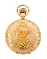 Antique 1908 Waltham Seaside 6S Multi-color 14k Gold Hunter Pocket Watch w/ Stag