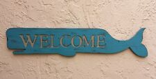 Unique Charming Carved Wood Sperm Whale 'Welcome' Entranceway Trade Sign