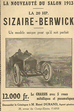 AUTOMOBILES SIZAIRE BERWICK PUBLICITE 1913