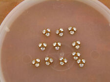 Vintage Brass Swar Subtle AB Crystal Prong Set Cluster Bead Cap Findings Lot