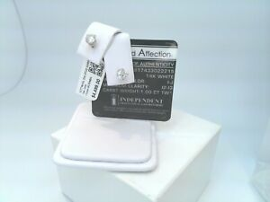 $4500 IGL CERTIFIED 1CTTW CT REAL Diamond Stud Earrings SOLID 14k White Gold!