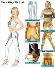Woman Metallic Gloss Shiny Wet Look Boob Tube Leggings Shorts Hot Pants Bandeau
