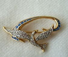 100% Authentic Swarovski Gold Tone Swallow Bird Pin Brooch