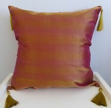 Organza Red and Gold Stripe Cushion Cover 45x45