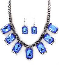 BLUE CABOCHON LUCITE STUD CLEAR CRYSTAL BURNISH LINK NECKLACE EARRING