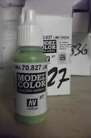 MODEL HOBBY PAINT 17ml BOTTLE VAL827 	 AV Vallejo Model Color - Lime Green