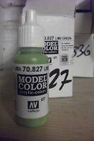 MODEL HOBBY PAINT 17ml BOTTLE VAL827  AV Vallejo Model Color - Lime Green
