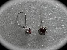 #264# CZ Garnet Round Gem Stone .925 Sterling Silver Dangle Leverback Earrings