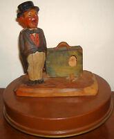 Vintage BARWARE ANRI MUSIC BOX HAND CARVED WOOD /TIN MID CENTURY BOTTLE OPENER