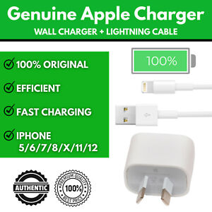 GENUINE APPLE WALL CHARGER IPHONE 5 6 7 8 X 11 12 IPAD IPOD LIGHTNING CABLE SAFE