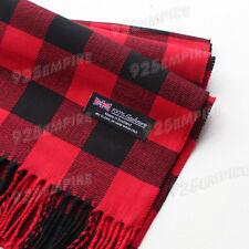 Women 100% CASHMERE Red/Black Square check tartan Buffalo Plaid Scarf SCOTLAND