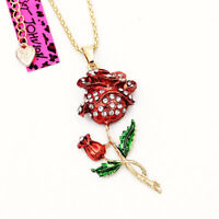 Betsey Johnson Red Enamel Crystal Rose Flower Pendant Women's Necklace Gift