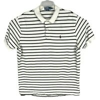 Polo Ralph Lauren Polo Shirt Cotton White Black Striped Mens Size XL XLarge
