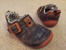 Boy's Clarks Brown Orange Leather First Shoes Walking Uk Infant Size 3 F