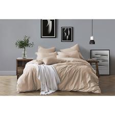 Swift Home Cotton Chambray Duvet Cover & Sham Bedding Set - Cali King - Almond