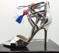 Sam Edelman Women Azela Tasseled Lace Up Sandal Silver Metal Shoes Size US 8.5M