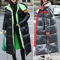 Womens Puffer Jacket Padded Coat Long Winter Parka Zip Up Faux Fur Hooded C998