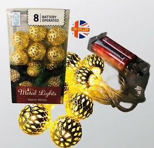 8 Ball Mini Fairy Lights Globe Bauble Metal LED Battery Operated Indoor
