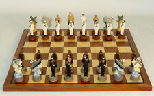 "PEARL HARBOR CHESS SET JAPAN vs. USA - SAPELE BOARD 15¾"" - K=3¼"" (ww r74570-sm)"
