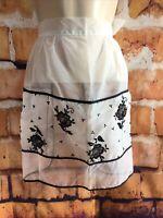 Vintage White black velvet floral sequins Embroidery Half Apron ~ Pocket