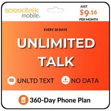 New listing $9.16/Mo. SpeedTalk Mobile Prepaid Sim Card Unlimited Talk & Text Phone Plan