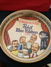 VTG 1960/'s Original Pabst Blue Ribbon Beer Metal Round Serving Tray Bartender