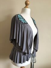 NEXT Womans Stunning Shrug/ Bolero. Size 14. Grey with Blue & Brown Sequins.