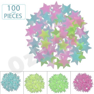 100 pieces Glow In The Dark Stars Wall Stickers Luminous Stars Decal Kids Room
